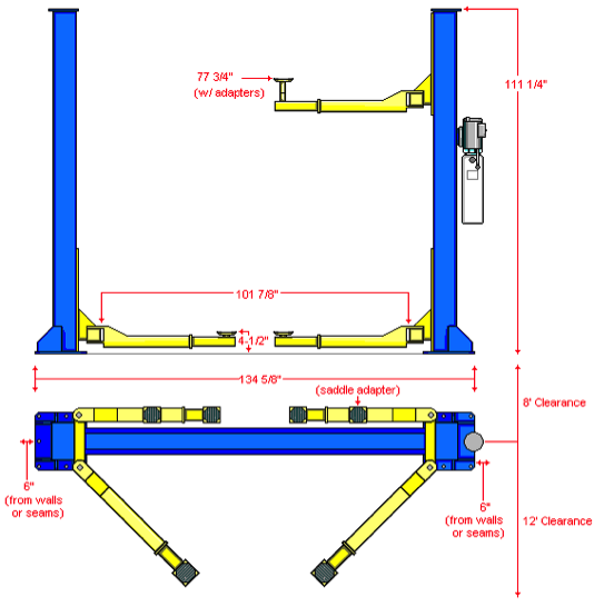 symmetric car lift diagram